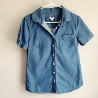 J Crew Short Sleeve Chambray Button Up Blouse Top Size XS