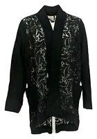 LOGO By Lori Goldstein Women's Sweater Sz XL Open Front W/ Lace Black A284195