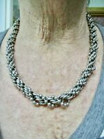 Vintage-1960's Ball Bead & Link Twist Silver Tone Necklace