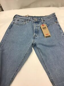 Levis 501 Skinny Jeans High Rise Button Fly Medium Wash Premium Size 29 x 28 New