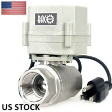 "3/4"" NPT 2 Way NC 110~230VAC w/ US Plug Stainless Steel 304 Motorized Ball Valve"