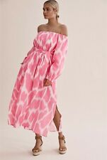 COUNTRY ROAD Pink Ramie Print Off The Shoulder Maxi Dress Size 12 NWOT