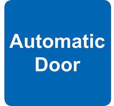 AUTOMATIC DOOR sign sticker (4) blue & white vinyl square 7.5cm small