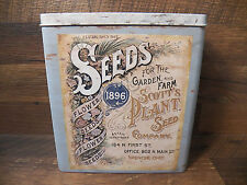 Vintage-Look Tin 1896 Scotts Plant Flower Seed Company Tin Canister Container