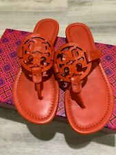 NIB Tory Burch Miller Tejus Embossed Leather Sandal in Bright Pomander Size 6.5