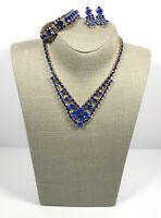 Vintage Jewellery Parure Necklace Bracelet Clip On Earrings Sparkly Blue Crystal