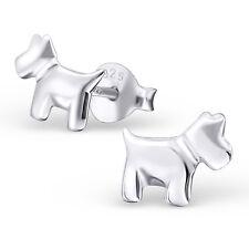 Children Girls 925 Sterling Silver Scottie Dog Earrings Pair Stud Boxed (W29)