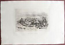 Eau-forte originale, Mobiles à la tranchée, Alphonse de Neuville