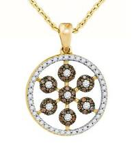 10K Yellow Gold Chocolate Brown Diamond Pendant Diamond Medallion Pendant .39ct