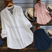 US STOCK Women's Linen Cotton Vintage Blouse Plaid Long Sleeve V-Neck Shirt Tops