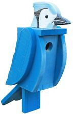 The Woodpecker Family Amish Handcrafted Birdhouse (Blue Jay)