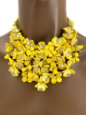 Bright Yellow Plastic Beads Flowers Statement Bib Necklace, Drag Queen,Pageant