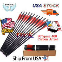 "12x Hunting Crossbow Carbon Arrow 20""Spine 400 Feather For Compound Bow Archery"