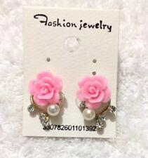 Pink Rose Flower Resin Crystal Womens Girls Stud Earrings Fashion Jewelry UK