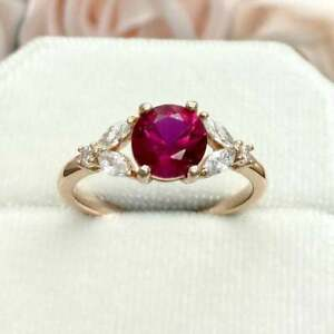 3Ct Round Cut Pink Sapphire Solitaire Women's Engagement Ring 14K Rose Gold Over