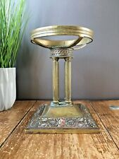 ANTIQUE BRASS & COPPER SWEETMEATS CENTREPIECE BOWL STAND 4 COLUMNS PILLARS GREEK