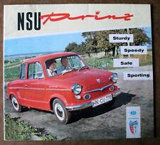 NSU PRINZ I, II, 30, 20 page UK sales brochure de 1959, 1959/1960 Année Modèle