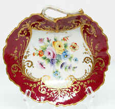 Le Tallec Red Bowl Flowers Gold Scroll France Porcelain Hand Painted Limoges