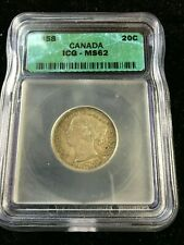 1858  ICG Graded Canadian,  ¢20 Cent, MS-62*(Re-Engraved 5, Not Noted on holder)