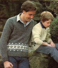 "Robin 13347 Vintage Boys/Mens Knitting Pattern Sweater 24-40"" Christmas Fairisle"