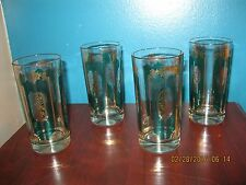 Set of 4-Tall Beverage Glasses - Holds ~ 12 oz. Decorated w/Hunter Green & Gold