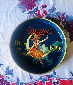 Vintage Miller High Life Girl On Moon Beer Drink Serving Metal Tray. Retro cool!