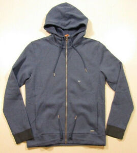 Boss Orange by Hugo Boss Men's Full Zip Blue Ztager Cotton Fleece Hoodie