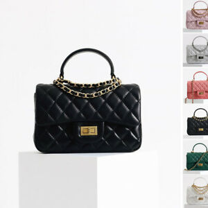 Small Quilted Real Leather Top Handle Chain Tote Shoulder bag Crossbody Purse