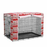 Christmas Pattern Dog Crate Cover, Breathable Windproof Linen Pet