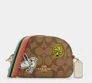 💚Coach Snoopy Woodstock Peanuts Mini Serena Crossbody Bag Signature Handbag NWT
