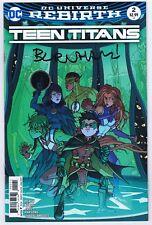 Teen Titans #2 Variant Vf/Nm Signed w/Coa Chris Burnham 2017 Dc Comics