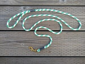 Dog Leash Double Braid Rope with Brass Snap - Eye Splices - White w/ Green - 6FT