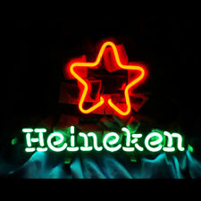 Heineken Artwork Neon Sign Beer Bar Man Cave Real Glass Handmade Wall Display