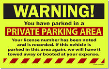 10 Yellow WARNING! PRIVATE PARKING Tow Towing No Parking Auto Car Sign Stickers