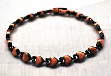 LADIES 7.25 IN COPPER HEARTS HEALING MAGNETIC THERAPY LINK BRACELET: For Pain!
