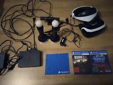 Sony PlayStation VR Headset PSVR mit Move Controllern und Spielen.