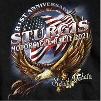2021 Sturgis Shirt Black Hills Rally Motorcycle South Dakota in Black Blue Red