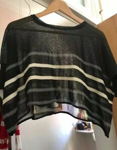 Gorman Crop Oversized Loose top Stripes Stretchy Size 8(Suit 6-10)
