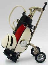 Metal Golf Club Pens in Golf Bag with Clock (choice of colours and style)