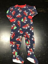 Boys Carters 18 Month Fleece Zip Up Footed Fleece Pj Monater Truck Christmas