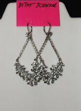 Betsey Johnson Iconic Blue Sea Clear Crystal Coral Chandelier Drop Earrings
