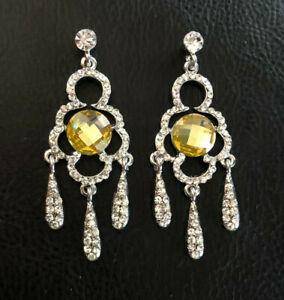 "Silver Rhinestone Chandelier Earrings Canary Yellow Big Statement 2.25"" #1659"