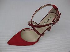 Pierre Dumas Womens Shoes NEW $52 Cherry-3 Red Suede Patent Ankle St Pump 6.5 M