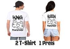King Queen T Shirt 2 Stück Partner Look Relationship Couple Wear New XS - 5XL
