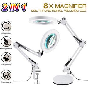 2 in 1 LED Lupenlampe Lupe mit Licht und Ständer, 8X Lupe Schreibtischleuchte DE