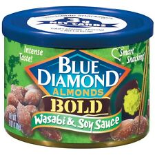 NEW SEALED BLUE DIAMOND ALMONDS BOLD WASABI & SOY SAUCE FLAVORED 6 OZ
