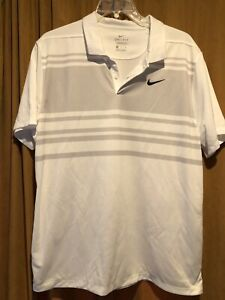 Nike Golf polo shirt XL short sleeve White and Gray stripes Dri-Fit Standard Fit