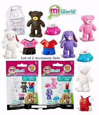 Lot of 2 miWorld Build A Bear Collector Packs 3 Bears  & 2 Bunnies Mi World NEW