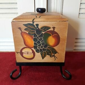 Lovely Solid Wood Kitchen Fruit Box With Metal Legs