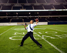 BARACK OBAMA THROWS A FOOTBALL AT SOLDIER FIELD - 8X10 PHOTO (DD-069)